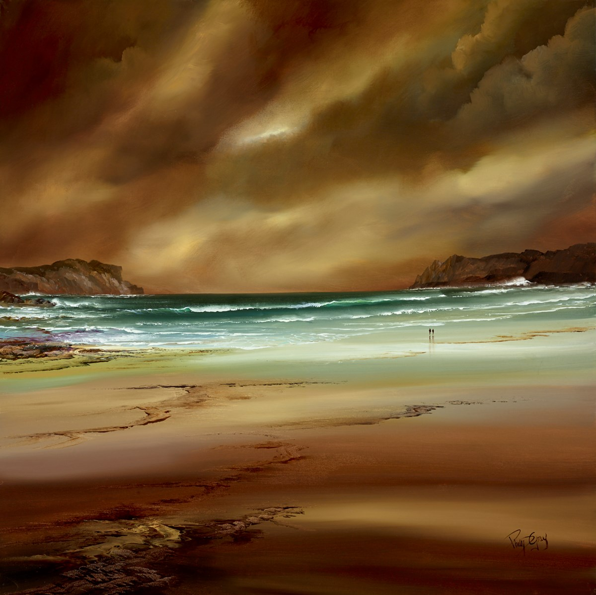 Walking on the Sands IV by philip gray -  sized 36x36 inches. Available from Whitewall Galleries